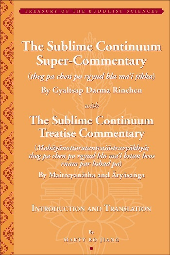 The Sublime Continuum Super-Commentary (theg pa chen po rgyud bla ma'i tikka) with the Sublime Continuum Treatise Commentary (Mahayanottaratantrasastravyakhya; theg pa chen po rgyud bla ma'i bstan bcos rnam par bshad pa)